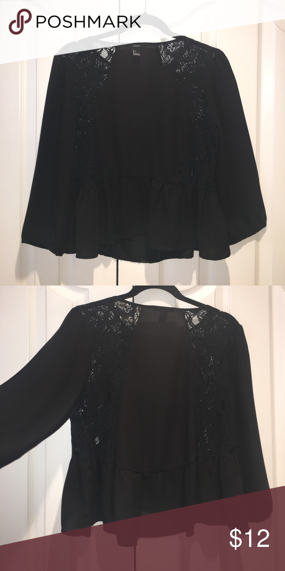 Forever 21 Black Lace Peplum Shirt Forever 21 black lace peplum shirt Forever 21 Tops Blouses