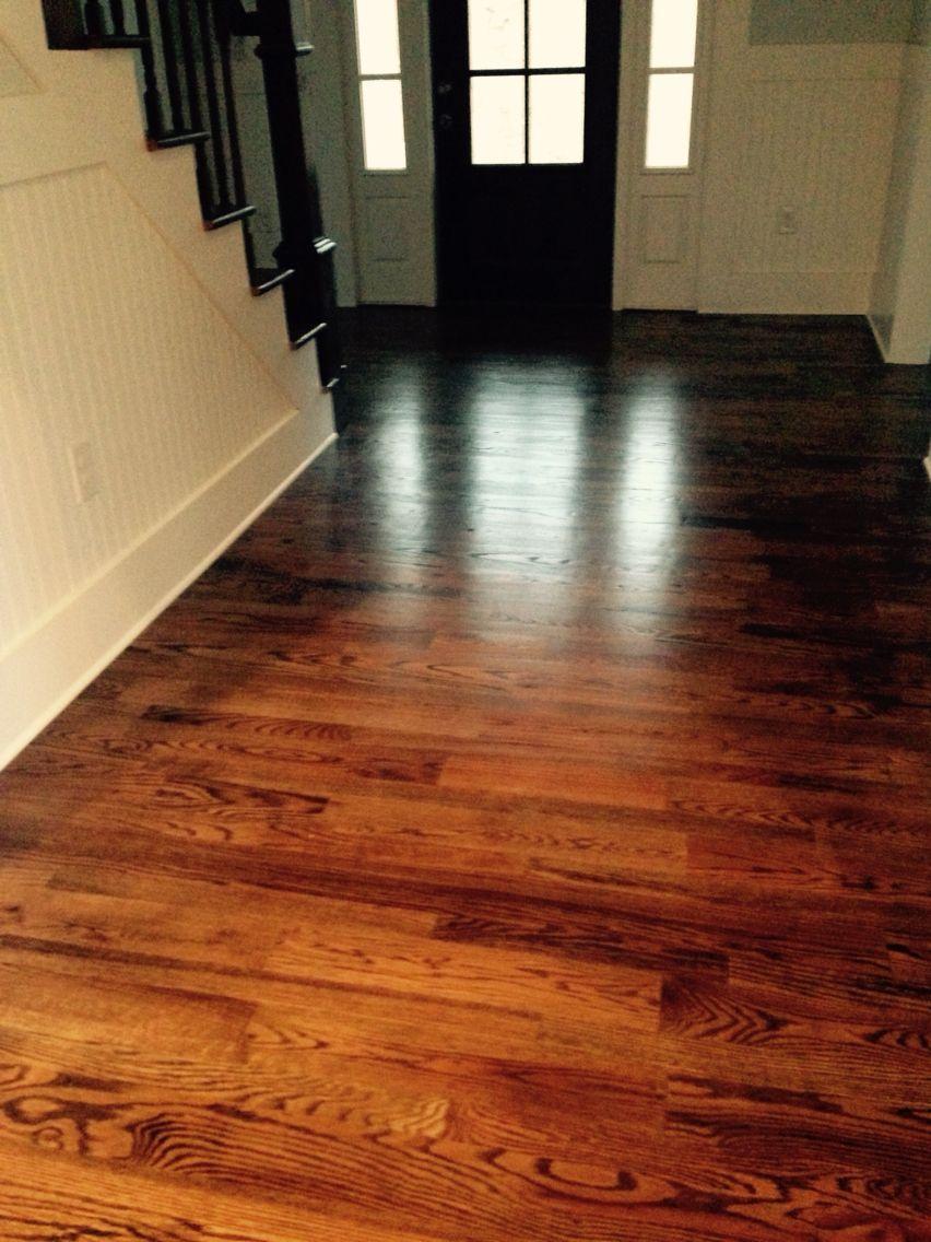 Dark walnut stain on red oak floors House flooring