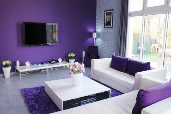 20 idées d\'ameublement salon en violet élégant | Violets, Salons ...