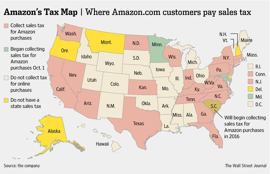 States That Make Amazon Pay Sales Taxes WSJ Good To Know - Us sales tax map