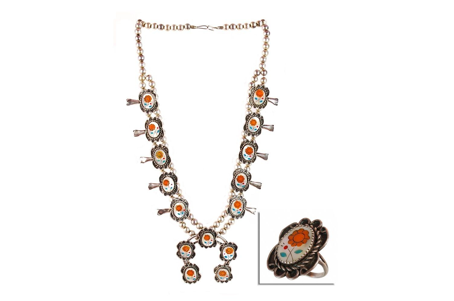 Calvin Mariano Navajo Sterling Floral Inlay Squash Blossom Necklace & Matching Ring