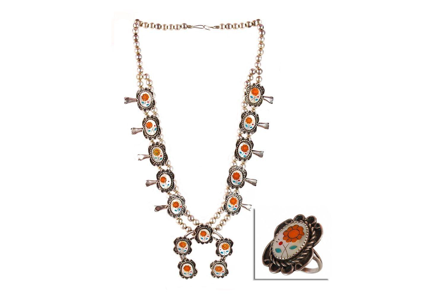 Calvin Mariano Navajo Sterling Floral Inlay Squash Blossom Necklace & Matching Ring