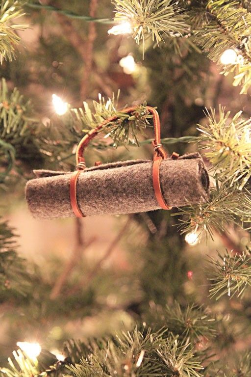 Vintage Christmas Ornament Camping Bed Roll DIY Ornaments  - Camp Christmas Tree