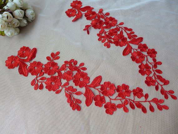 Beautiful Venice Lace Applique Pair in RED for Weddings, Bridal Headband, Garters, Altered Couture #spitzeapplique