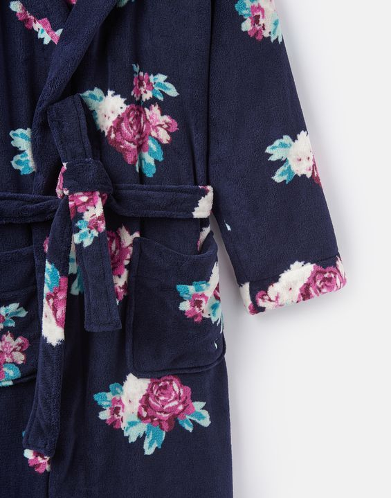 Joules Rita Womens Fluffy Robe French Navy Rose Floral Clear Spring d3f74d852