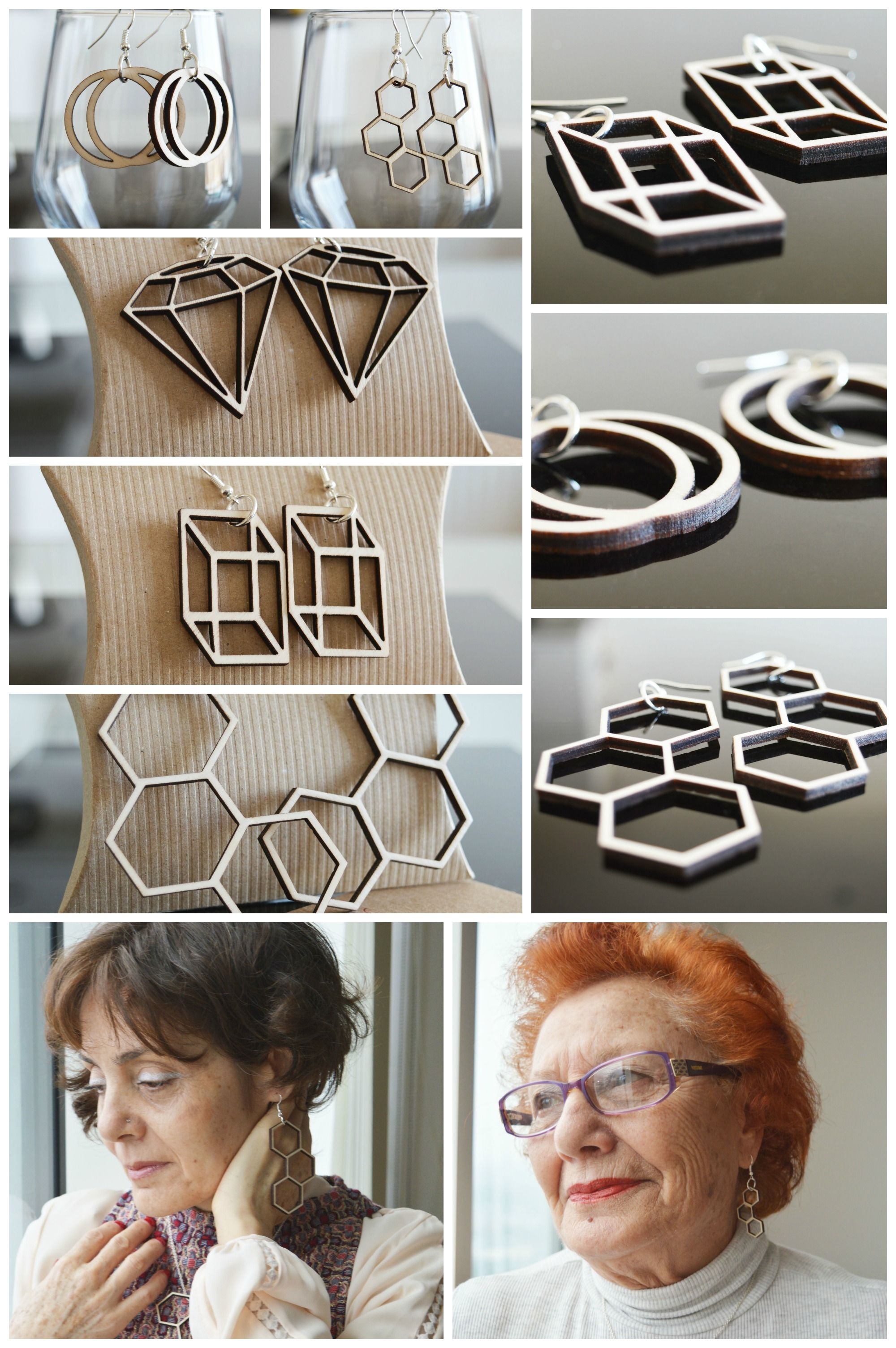 Elegant and unique laser cut wooden pendant earrings are an excellent addition to an everyday or evening wear.