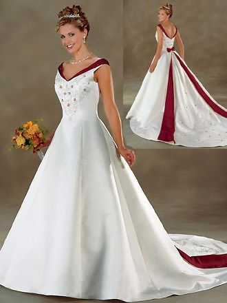 A Line Ivory Stapless Wedding Gown With Long Train Red Wedding