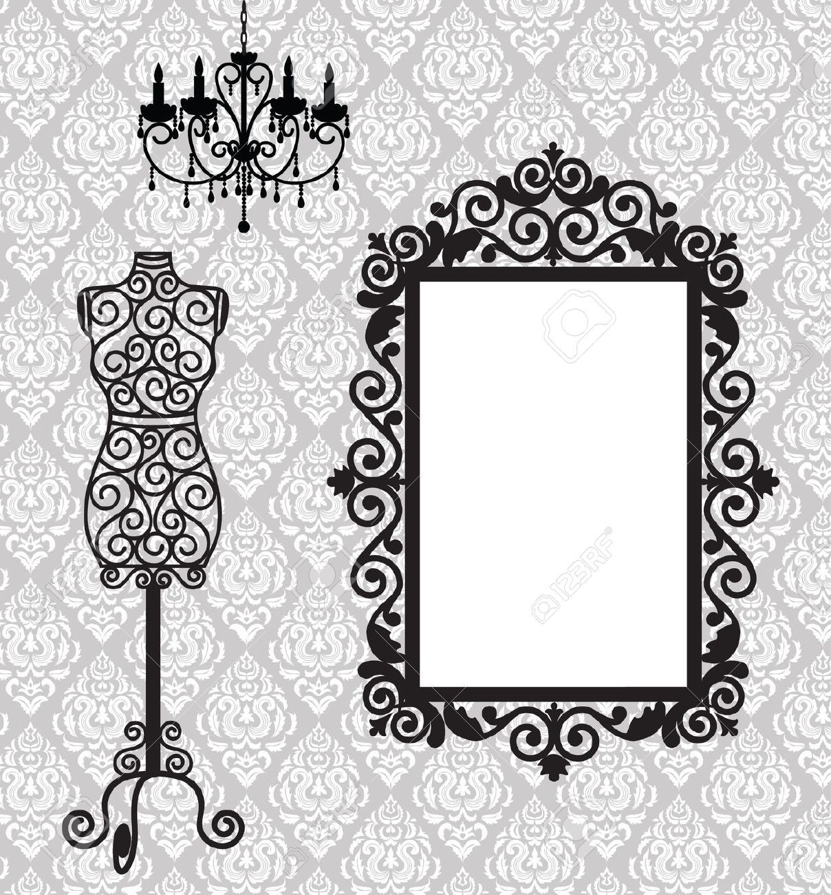 Stock Vector in 2020 Antique frames, Sewing art
