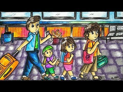 Cara Menggambar Dan Mewarnai Tema Ramadhan Lebaran Mudik Dengan Gradasi Warna Crayon Oil Pastel Youtube Cara Menggambar Gambar Warna