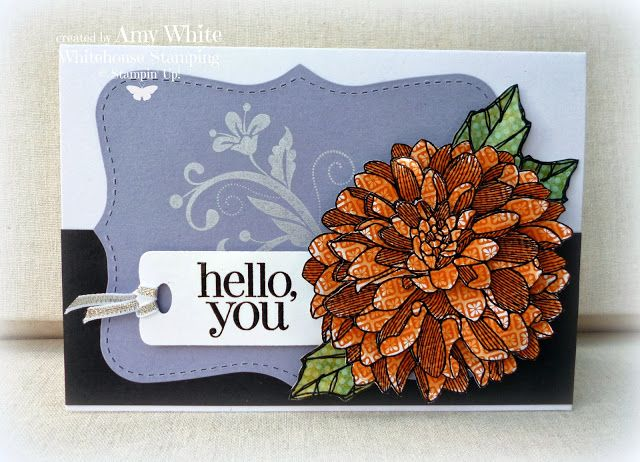 stamped on quatrefoil paper and embossed in black - 3 layers. add color with blender pen.