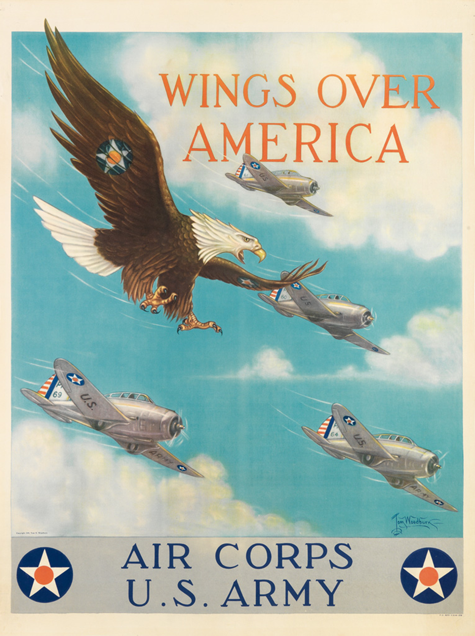 Wings Over America, 1941. Tom B. Woodburn. Paper poster stock. This was back when America fought fascists, then two of them ran the U.S. from 2000 to 2008 trashing the world economy and spent $4...