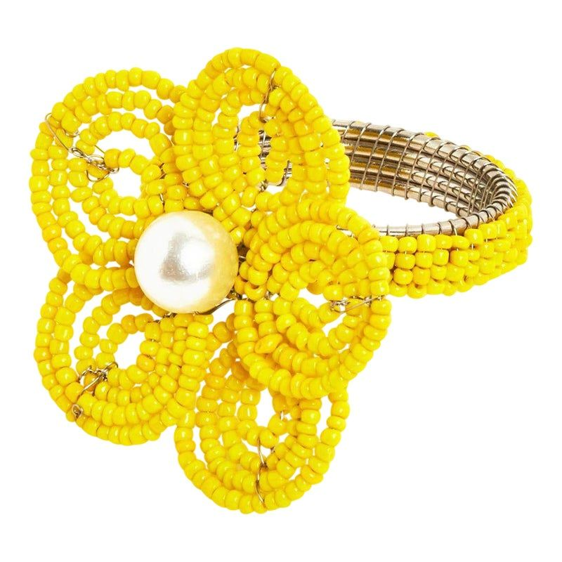 Yellow Floral Napkin Ring