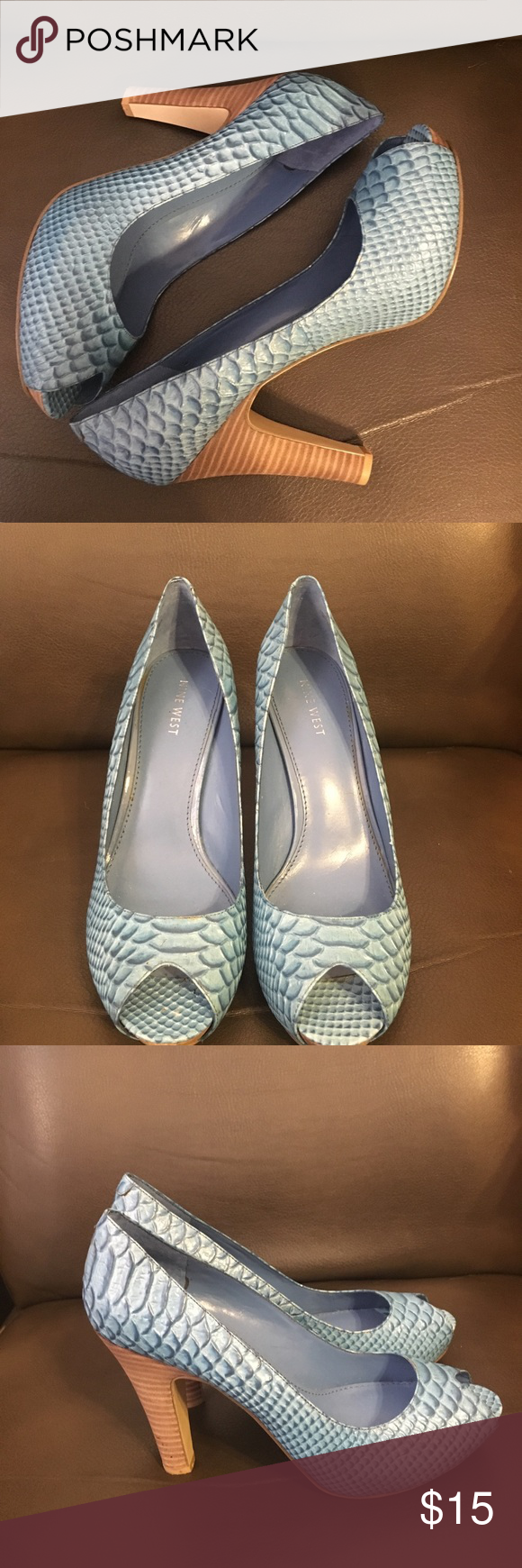 8698c9708f9d NWOT Nine West Pumps NWOT Nine West peep toe leather embossed Pumps. Size 8  M. Comes from a smoke and pet free home. There is a small mark on the right  shoe ...