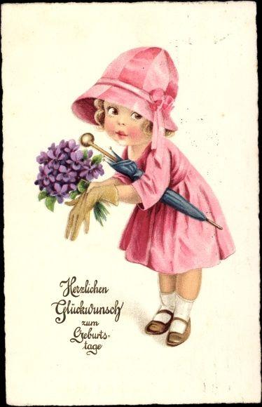 Postcard Gluckwunsch Geburtstag Madchen Mit Blumenstrauss