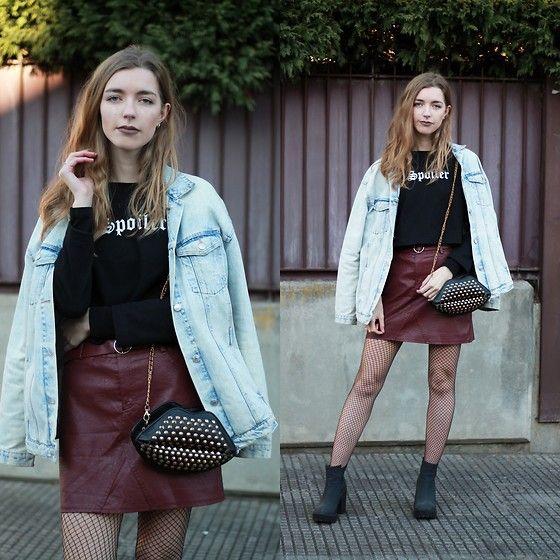 Get this look: http://lb.nu/look/8566943  More looks by Alba Granda: http://lb.nu/sweetblondiescloset  Items in this look:  Zara Oversized Denim Jacket, Rosegal Black Sweater, Gamiss Burgundy Leather Skirt, H&M Black Booties   #gothic #grunge #vintage #oversized #jacket #denim #skirt #sweater #leather