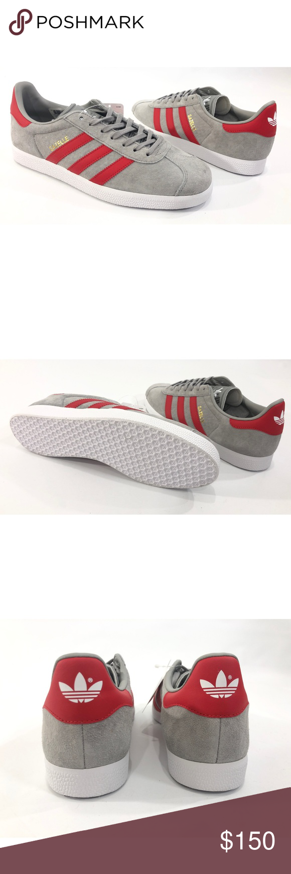 brand new 6734f e5b87 Adidas Gazelle Mens Originals Casual Shoes adidas BB5257 adidas Gazelle  Mens casual shoes Size 9.5 Grey  White  Red Low top New without box  53A819 ...