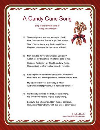 printable free candy cane legend song pdf great resource for the meaning of the candy cane - Hard Candy Christmas Meaning