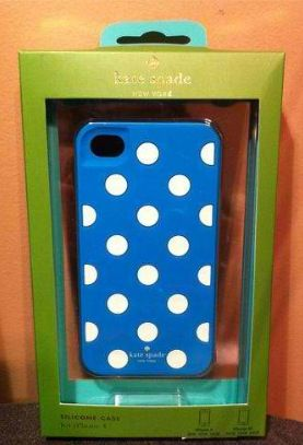 Blue case with white polkadots