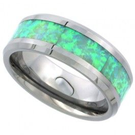 8mm Tungsten Wedding Band Synthetic Opal Inlay Beveled Edges Comfort fit, sizes 9 to 13.5
