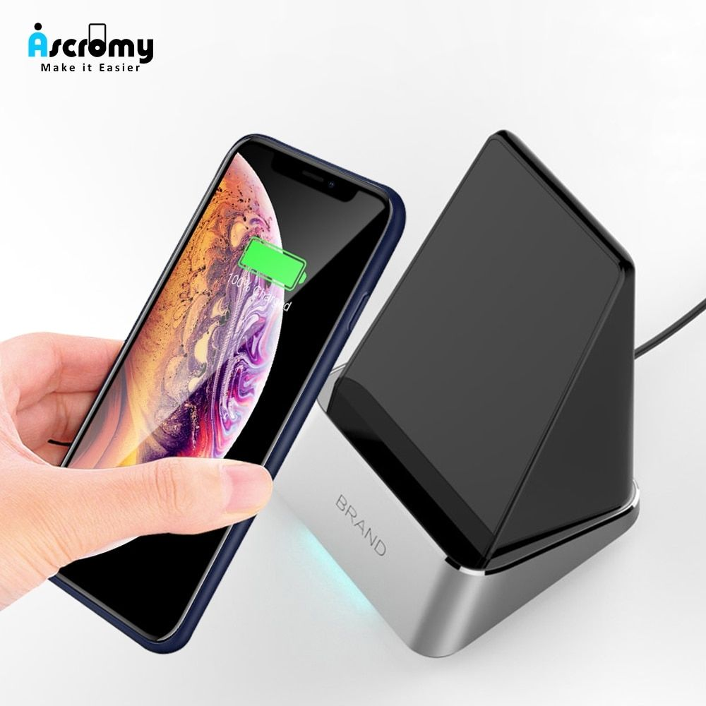 Ascromy 15w qi wireless charger for iphone xs max x 8 plus