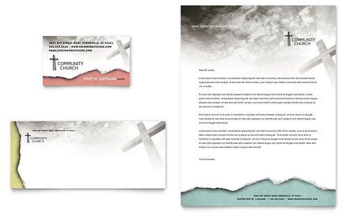 Bible Church Business Card  Letterhead Template Design