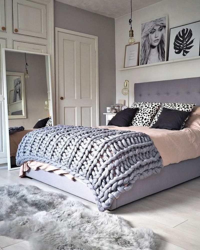 chambre rose et gris frais-blanc-meubles-déco  Diy déco chambre