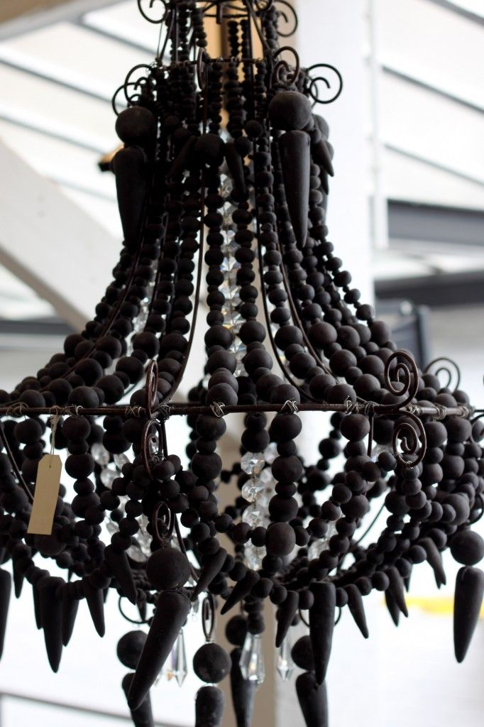 Wood Beaded Chandelier My Thoughts A Lot Of Wooden Beads Look Dated But Paint Them Flat Black Or Charcoa Wood Bead Chandelier Beaded Chandelier Beaded Lamps