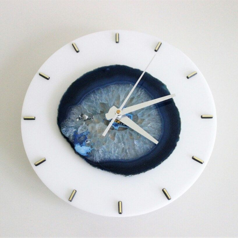 This is a new Custom/Made To Order SoLo Agate wall clock we just completed that will be heading out soon :) we love customizations!!
