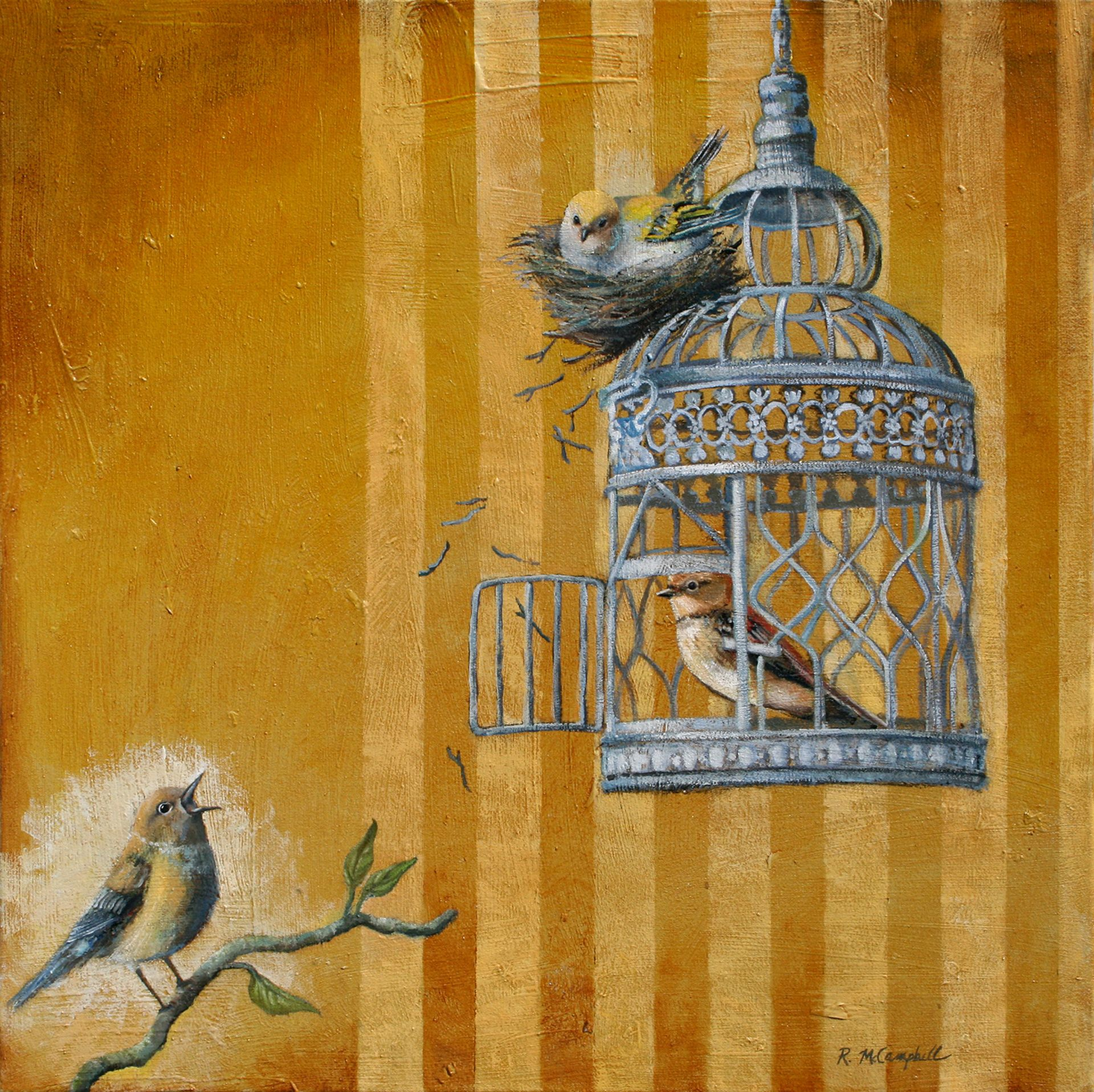 vintage bird cages interest me along the theme of dom i love to paint bird cages and this painting was inspired by the a angelou poem