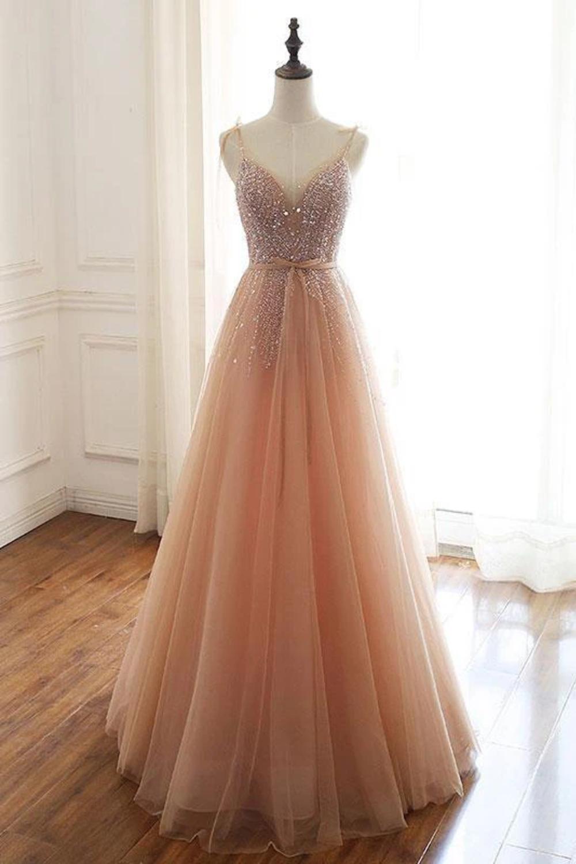 Vestido de fiesta de tul largo sin mangas con tirantes sexy con cuentas, vestido de noche brillante hasta el – Dress