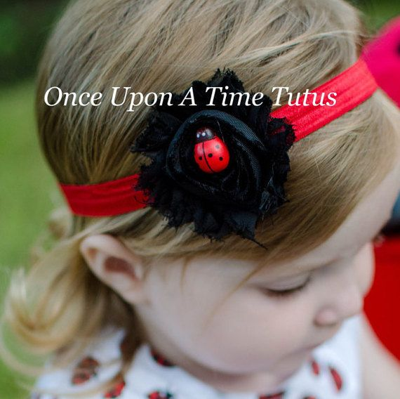 baby hair headbands accessories elastic girl ladybug black red bow