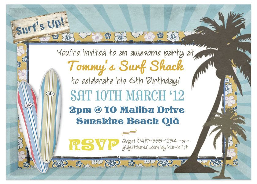 Vintage Surf Birthday Party Invitation - INSTANT DOWNLOAD ...