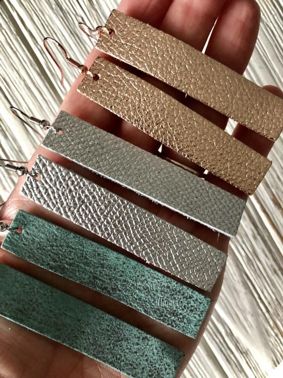 Photo of Rectangle Leather Earrings | New Colors | Larger Rectangles | Bar leather earrings | lightweight leather earrings