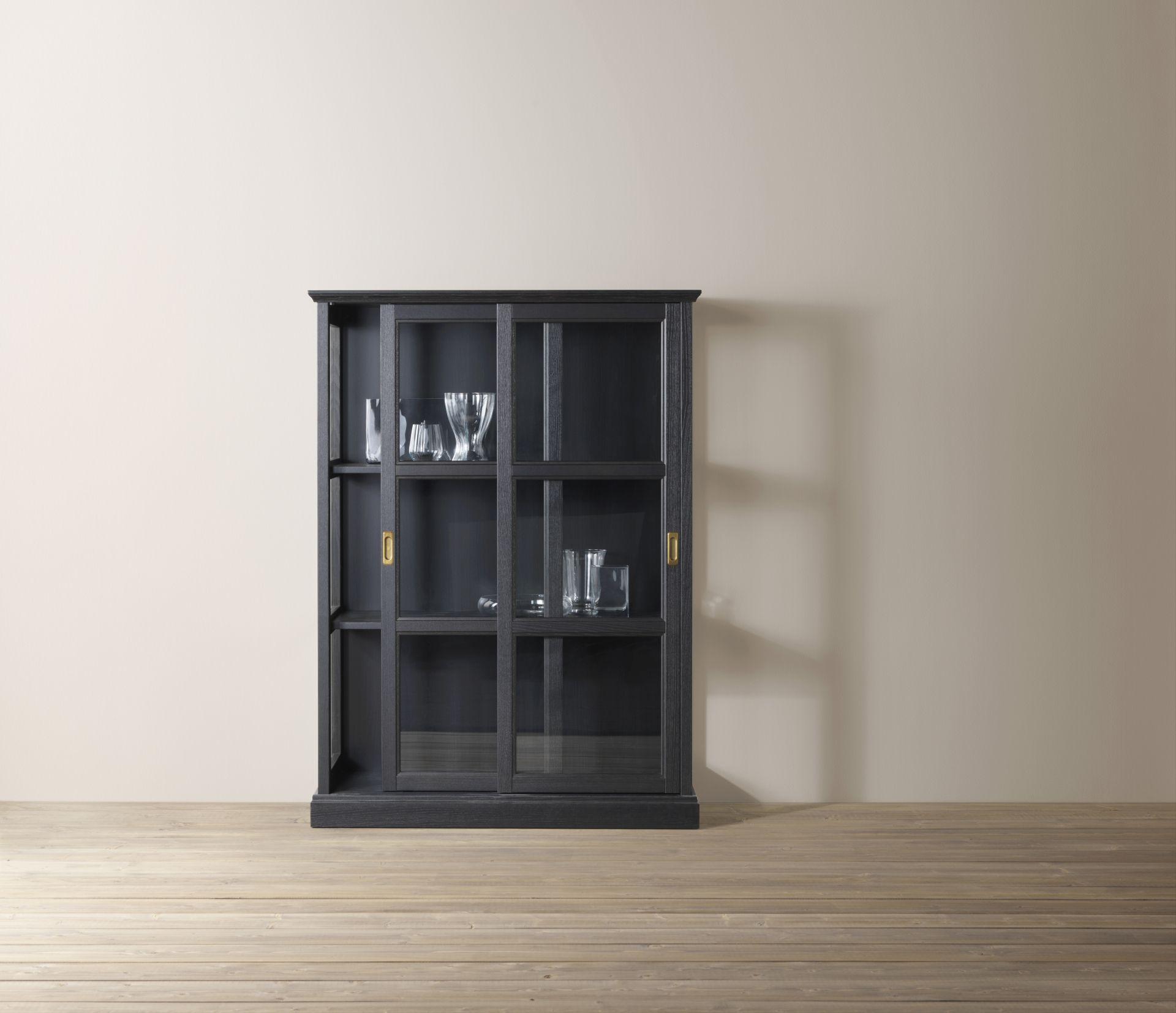 Malsjö Vitrinekast Zwart Gelazuurd Zwart Gebeitst Ikea