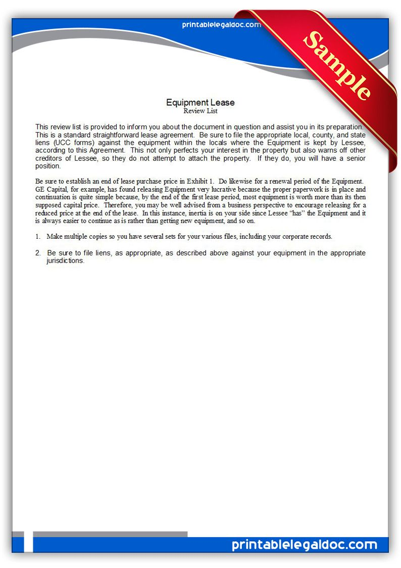 Free Printable Equipment Lease Legal Forms  Free Legal Forms