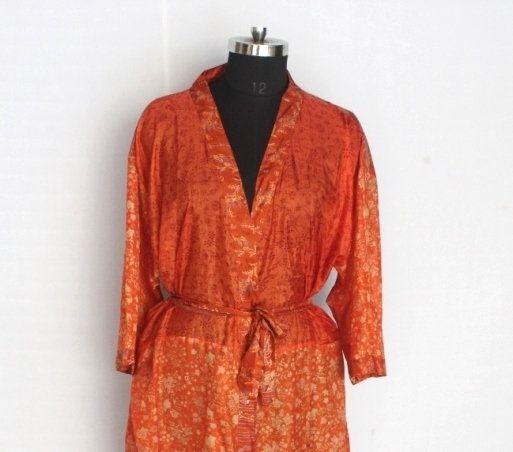 Indian Vintage Sari Kimono Art Silk Robe Recycled Used Fabric Sari Dress Patchwork Robe Sleepwear Bridal Kimono Dress Oriental Robe #TMK 152 #saridress