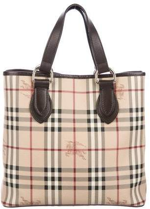 Burberry Leather-Trimmed Haymarket Check Tote  0443d5249f224