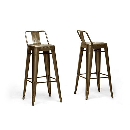 French Industrial Metallic Bronze 37 Inch High Outdoor Bar Stool