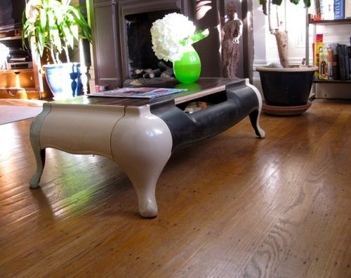 Coffee Table Made from Occidental Stove - via Pairs of Chairs