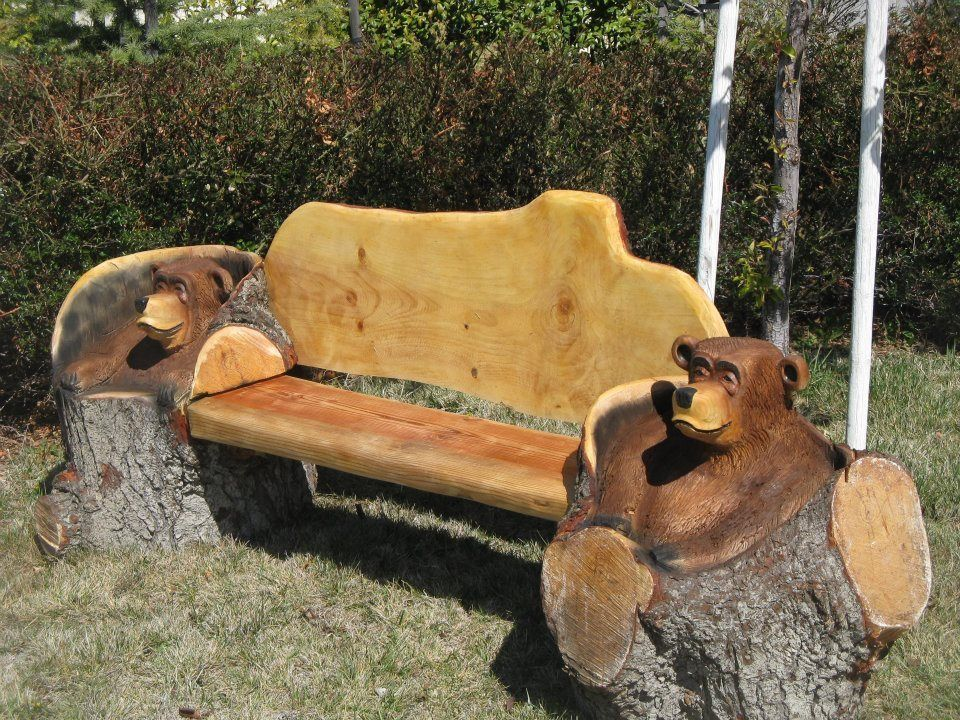 Chainsaw carved bear bench things i love pinterest