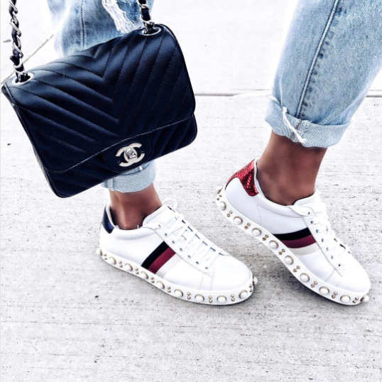 Gucci White Studded Ace Low Top Sneaker 2