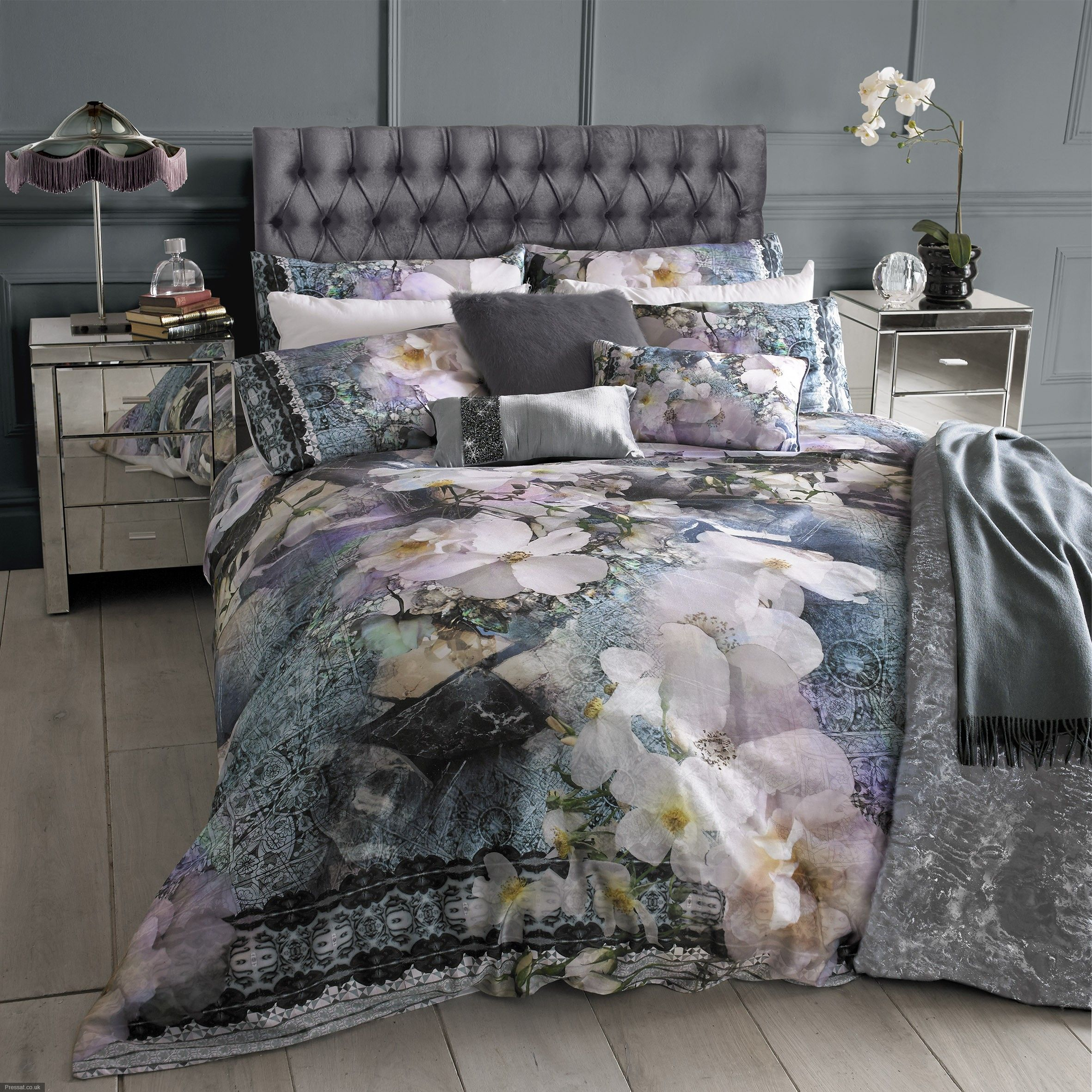 floral ted baker bedding and divine silver cabinetry