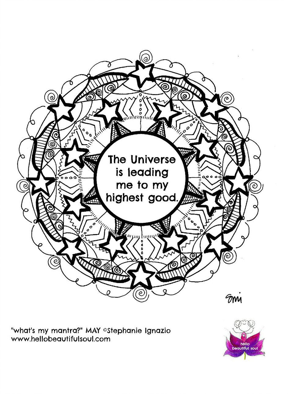 Mantra Mandala Black And White Illustration Universe Hello