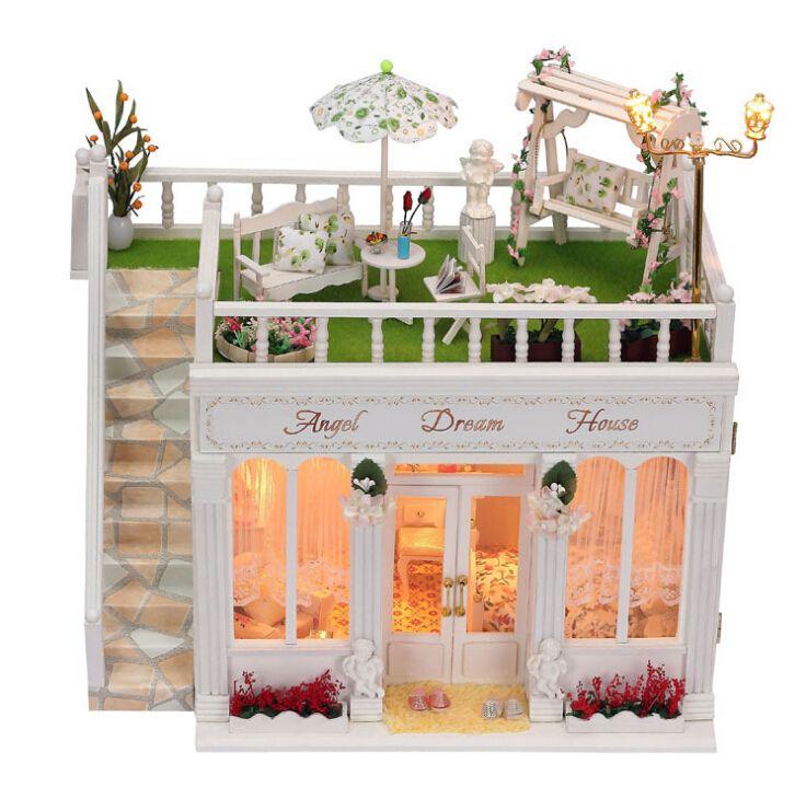 Günstige Diy Puppenhaus Miniatur Modellbausätze Handmade Wooden 3d