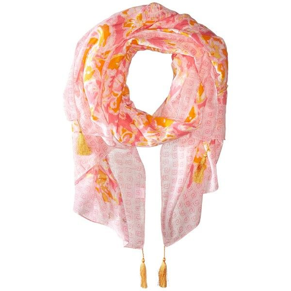 Lilly Pulitzer Cabana Scarf (Kir Royal Pink Ooh La La Engineered) ($98) ❤ liked on Polyvore featuring accessories, scarves, tassel scarves, pink scarves, pink shawl, lilly pulitzer and patterned scarves