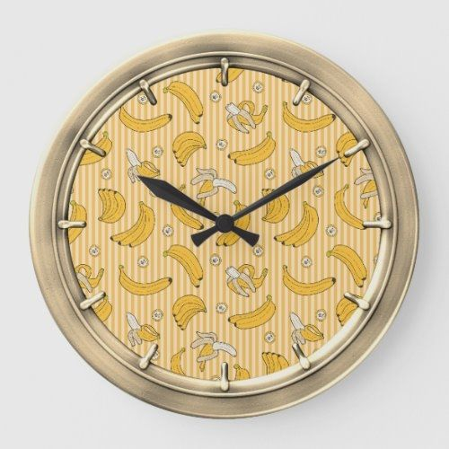 Banana Stripe Vector Pattern | Yellow Large Clock  diy house decor, nautical decor, christm decorations #homedecorator #homedecorindonesia #homedecorjakarta