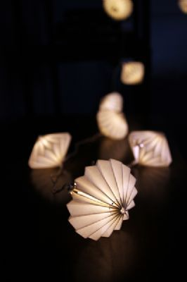 Paper Hand Folded Lantern - Disc Light Chain
