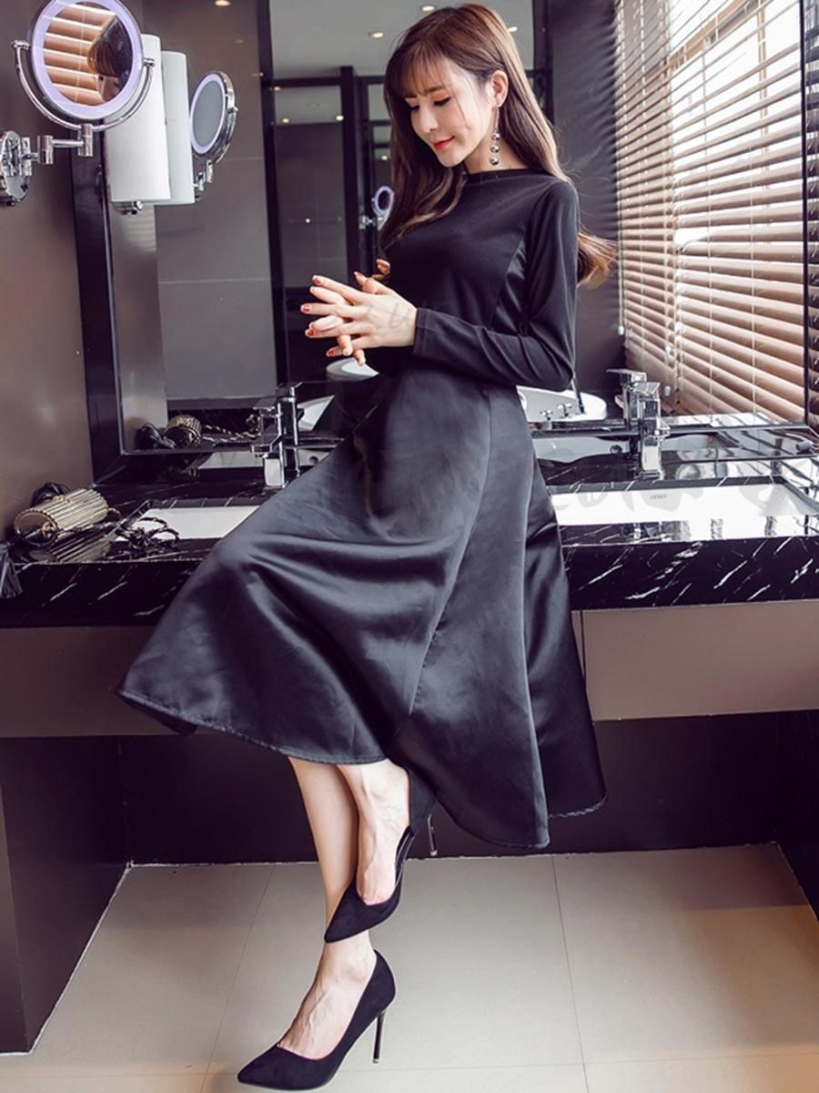 Full two color long sleeve high waist clothes thinning change simple