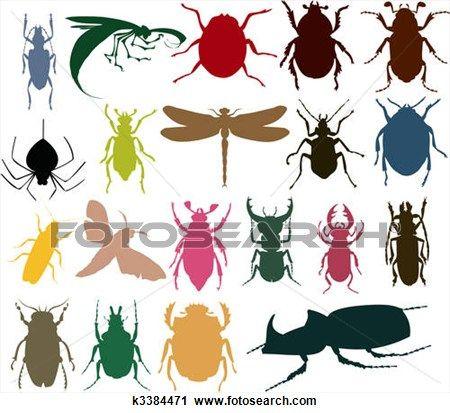 シルエット の 昆虫 の 別 Colour A ベクトル イラスト