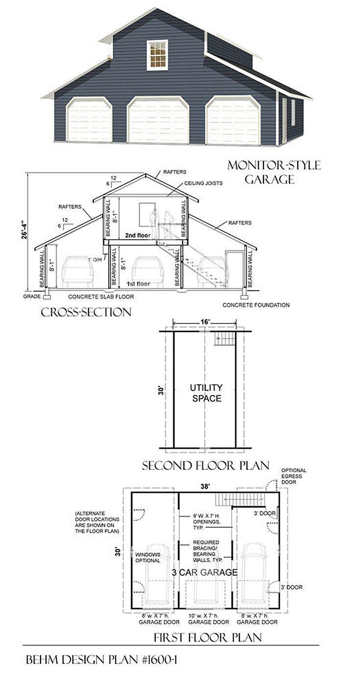 1600 1 38 X 30 Garage Loft Garage Plans